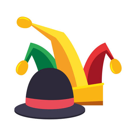 jester hat and classic bowler carnival festival vector illustration