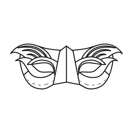mask with feathers accessory carnival festival vector illustration outline Ilustração