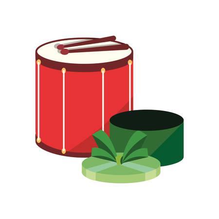 drum musical and open gift carnival festival vector illustration