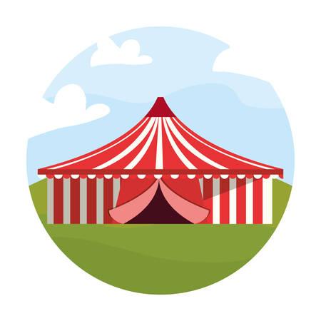 circus big tent in the field carnival festival vector illustration Illustration