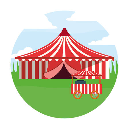 circus tent and food booth in the field carnival vector illustration Illustration