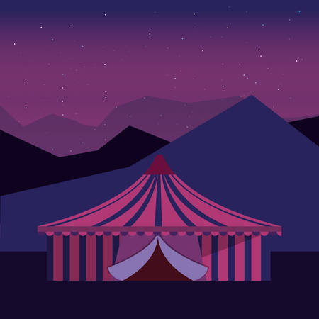 circus tent carnival festival in the night vector illustration Illustration