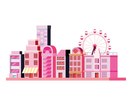 city building with carnival ferris wheel vector illustration
