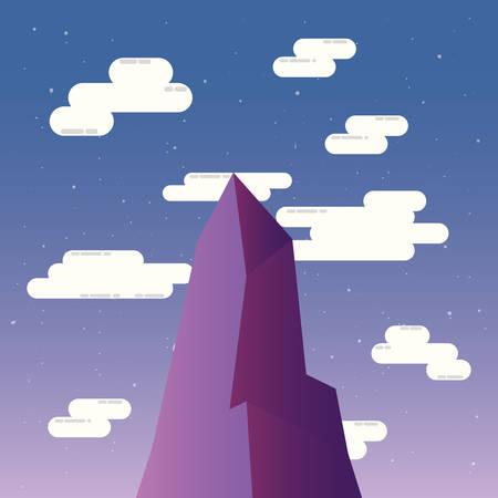 high mountain sky clouds landscape vector illustration