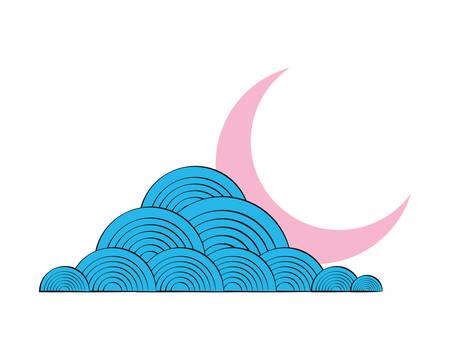 sky cloud moon night design vector illustration