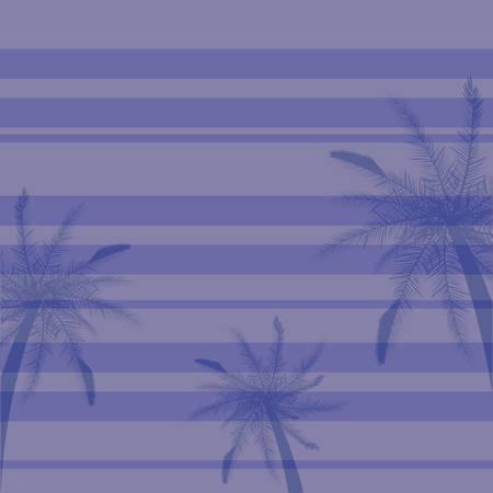 tropical palms tree stripes purple background vector illustration