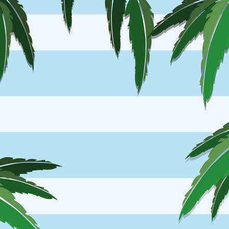 tropical palm leaves foliage stripes background vector illustration Ilustrace