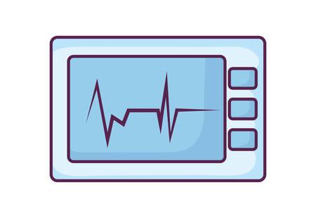ekg machine cardiology icon vector illustration design