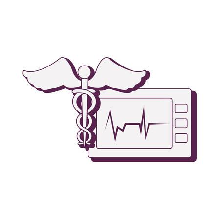medical symbol with ekg machine vector illustration design Ilustracja