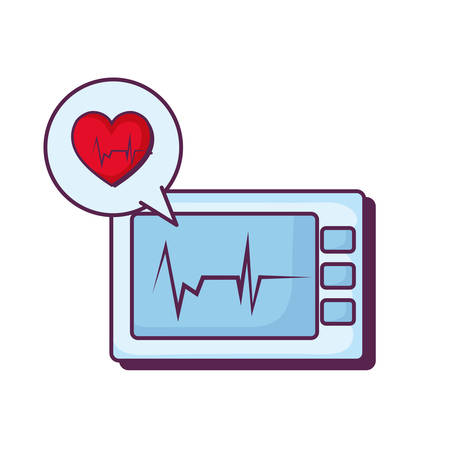 heart cardiology with ekg machine vector illustration design Illustration