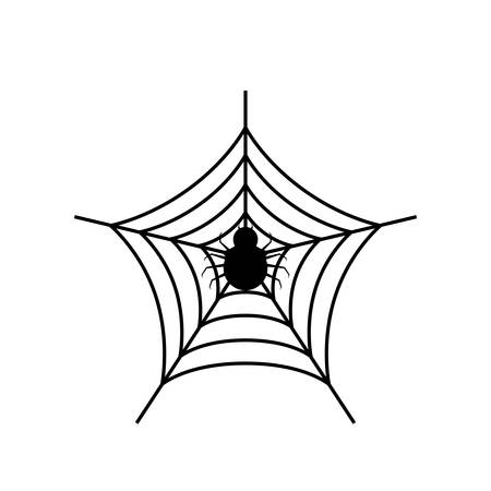 happy halloween spider with spiderweb vector illustration design