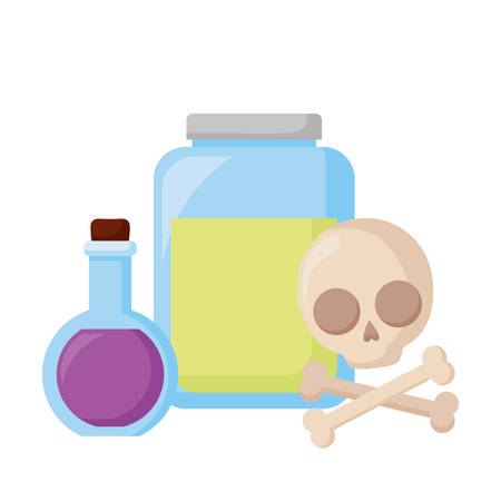 happy halloween skull with bones crossed and potion vector illustration