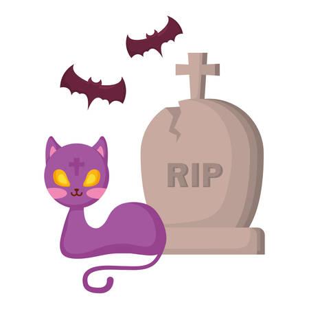 halloween gravestone with cat and bats vector illustration design Vector Illustratie