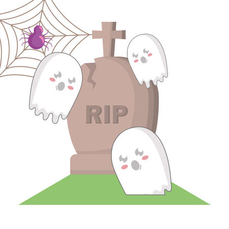 halloween gravestone with spiderweb and ghosts vector illustration Ilustração