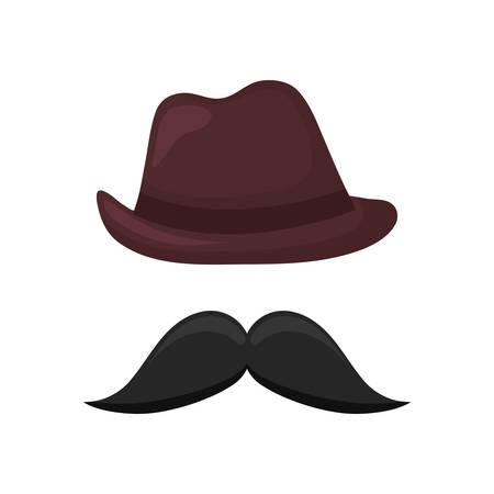 elegant male fedora hat with mustache vector illustration design