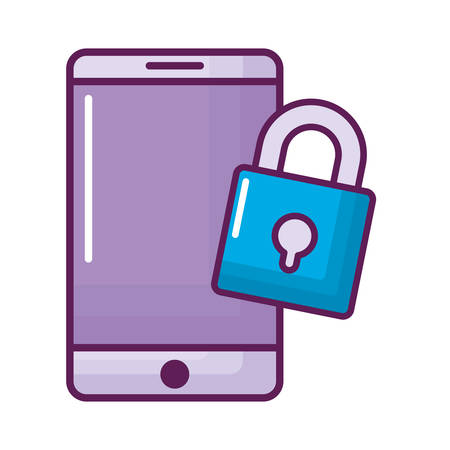 smartphone with padlock icon vector illustration design 向量圖像