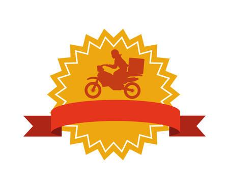 Trabajador de entrega en motocicleta sello sello diseño ilustración vectorial