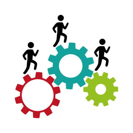 Machines à engrenages avec conception d'illustration vectorielle silhouette travail d'équipe