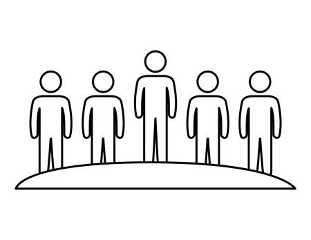 group of people teamwork silhouette vector illustration design