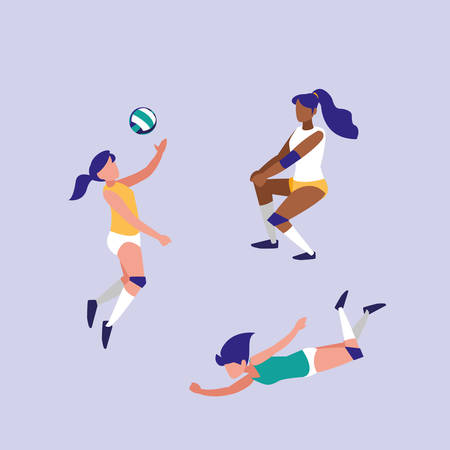 women practicing volleyball isolated icon icon vector illustration design