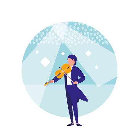 man playing the violin isolated icon vector illustration design