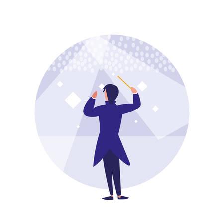 orchestra director avatar character vector illustration design Vettoriali