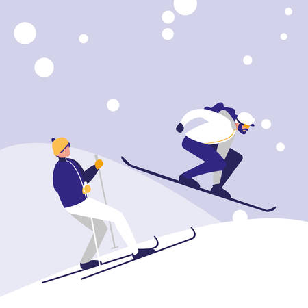men practicing skiing on ice avatar character vector illustration design