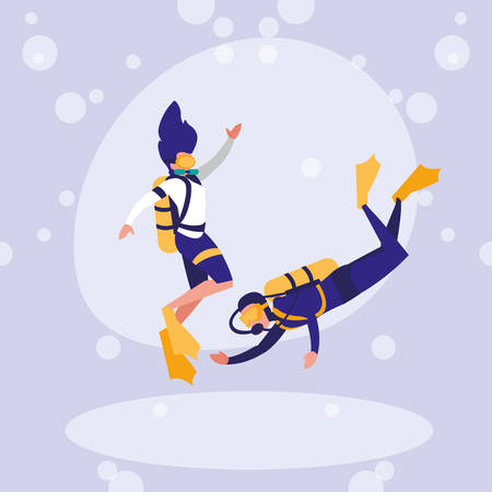 couple practicing diving avatar character vector illustration design Çizim
