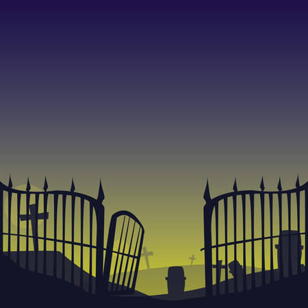 grille cemetery on night scene vector illustration design Illustration