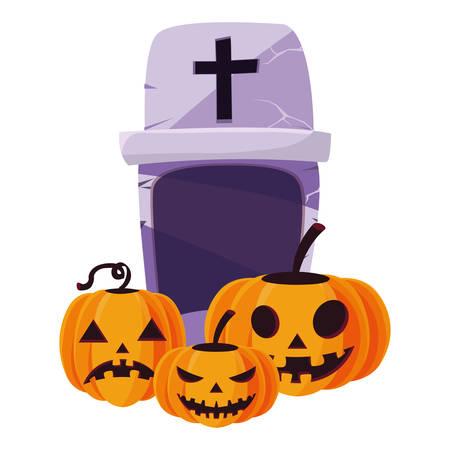 halloween gravestone with pumpkins vector illustration design