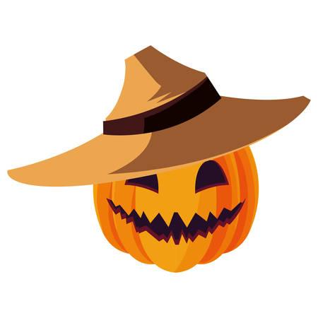 calabaza de halloween feliz con sombrero de paja ilustración vectorial de diseño