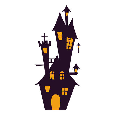 Halloween verzauberte Burg Szene Vektor-Illustration Design