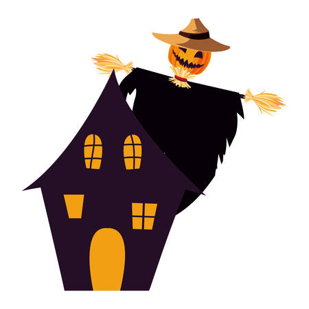enchanted castle with scarecrow scene vector illustration design