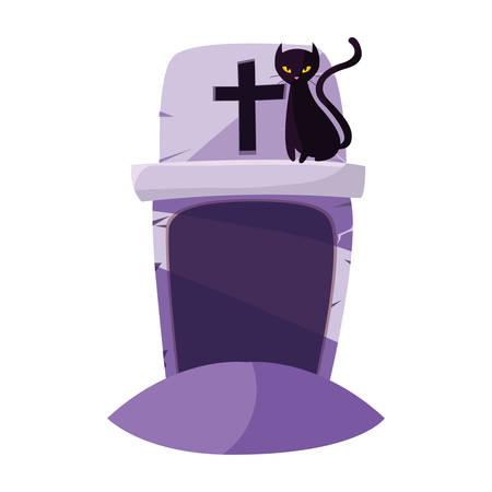 halloween gravestone with black cat vector illustration design