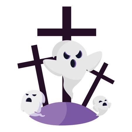 halloween gravestone with ghosts vector illustration design Vector Illustratie