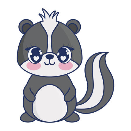 cute skunk adorable character vector illustration design