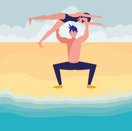 dancer man holding a woman over him over beach background, vector illustration