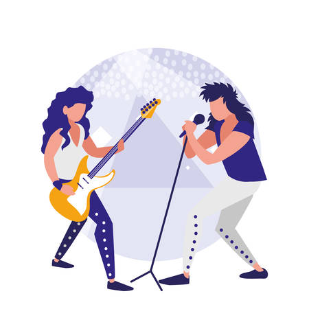 rock band design with singer and musician playing electric guitar over white background, colorful design. vector illustration