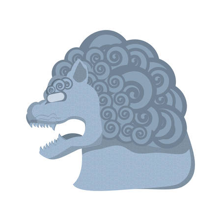 chinese lion statue isolated icon vector illustration design