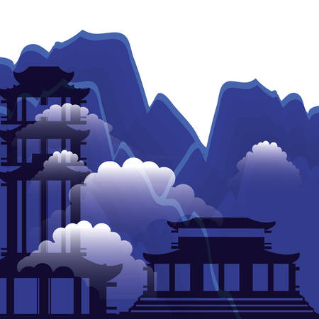 chinese portals with landscape isolated icon vector illustration design