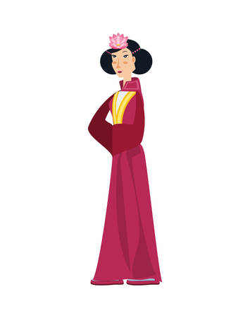 geisha woman avatar character vector illustration design