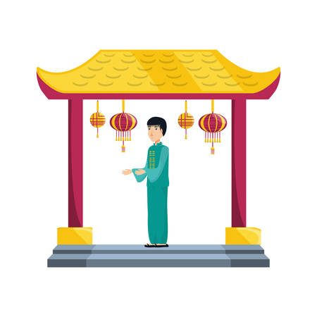 chinese portal with man avatar character vector illustration design