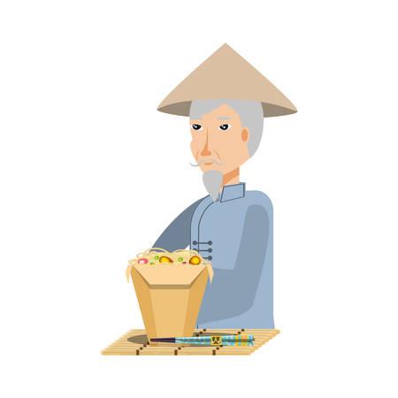 vieil homme paysan avec nourriture design illustration vectorielle chinois