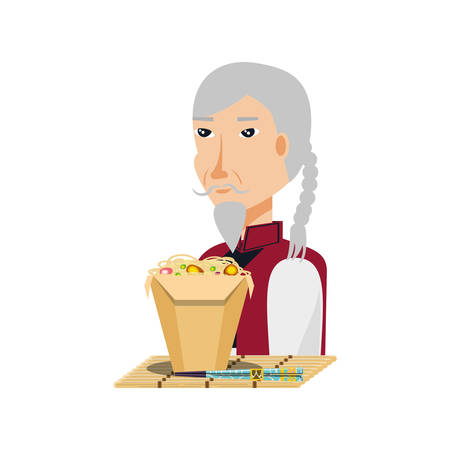 vieil homme, à, costume traditionnel, et, nourriture, chinois, vecteur, illustration, conception