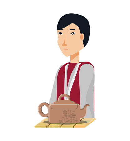 chinese man with traditional costume and teapot vector illustration design