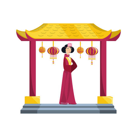 chinese portal with  avatar character vector illustration design Иллюстрация