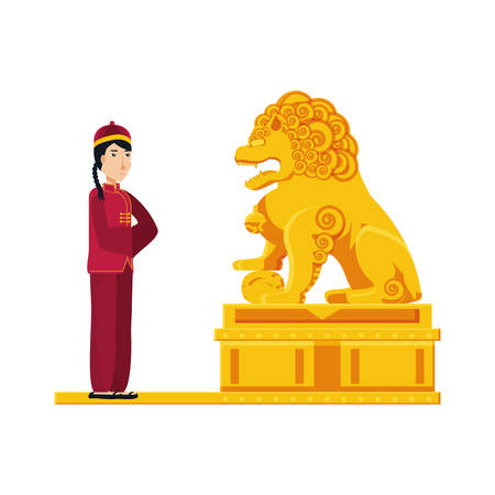 chinese lion statue in gold with man vector illustration design