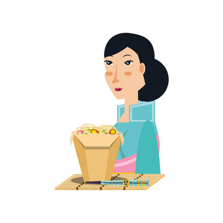 geisha woman with food chinese avatar character vector illustration design