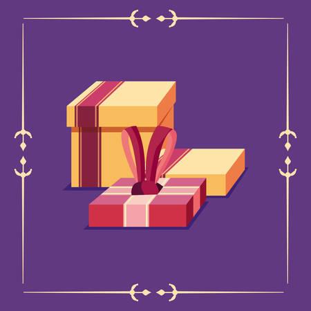 gift boxes party happy diwali celebration vector illustration