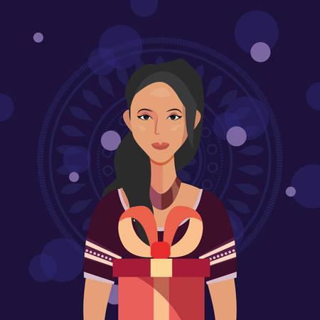 beautiful woman holding gift box on mandala background vector illustration Ilustração